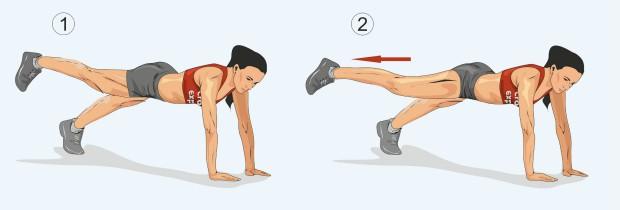Планка с отведением ноги