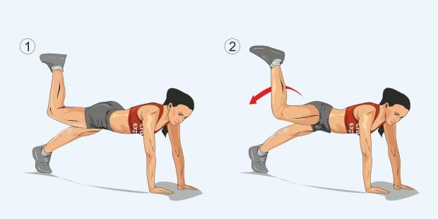 Планка с подъемом и отведением согнутой правой ноги