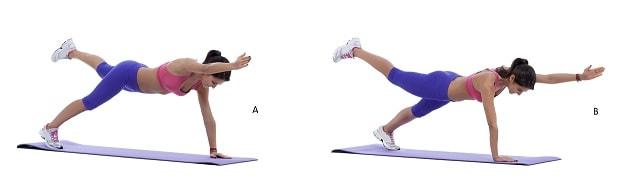 Планка с подъемом противоположных рук и ног