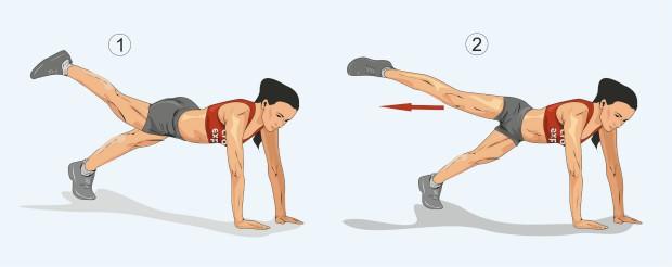 Планка с подъемом и отведением прямой ноги