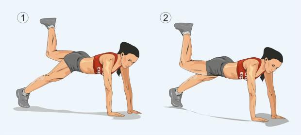 Планка с поднятием ноги, согнутой в колене