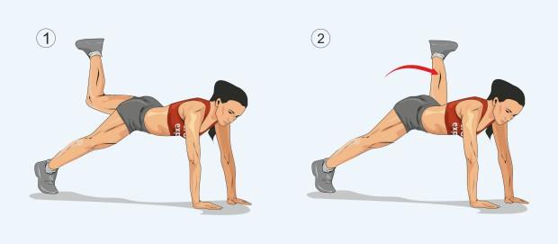 Планка с подъемом и отведением согнутой левой ноги