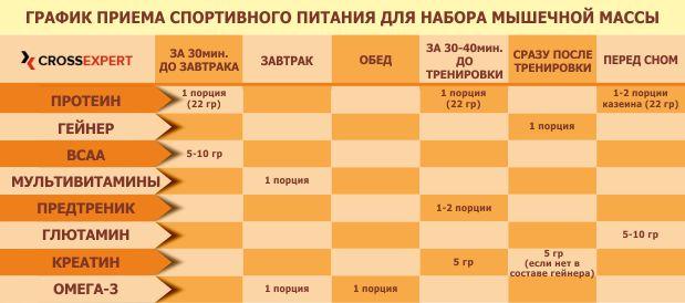 график примема спортпита для набора массы