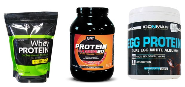 Сывороточный протеин, казеин и яичный