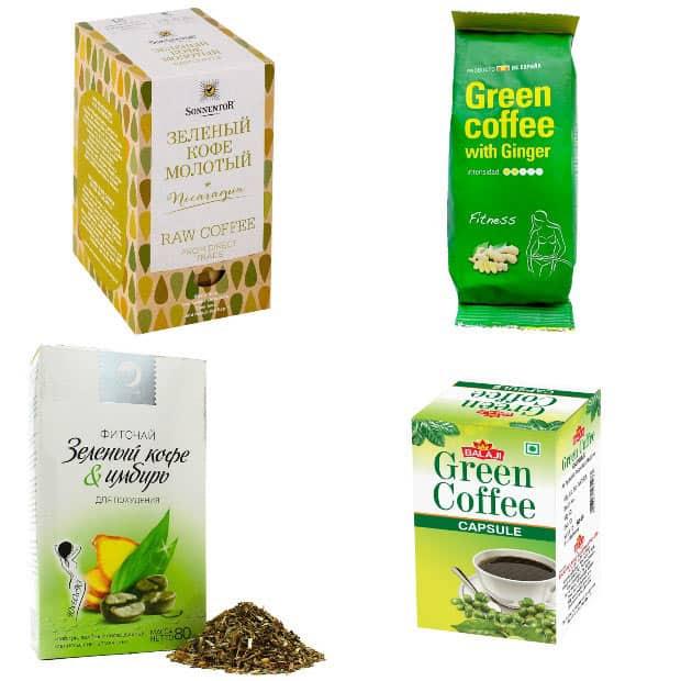 Упаковки зеленого кофе