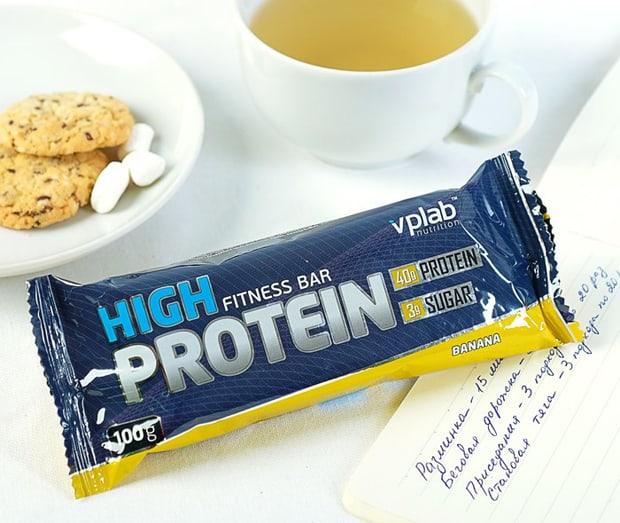 High Protein bar с печеньем и чаем