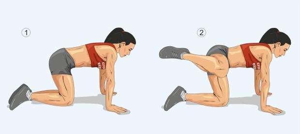 Отведение ноги вбок на четвереньках