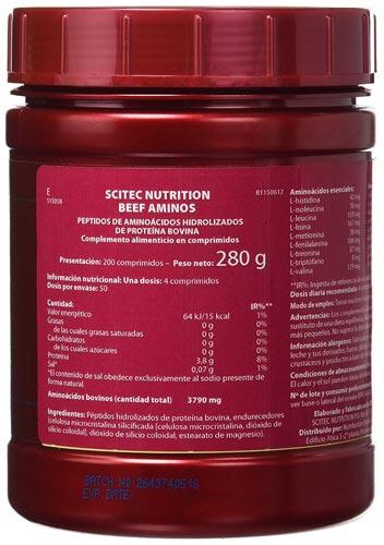 Оборотная сторона банки beef aminos