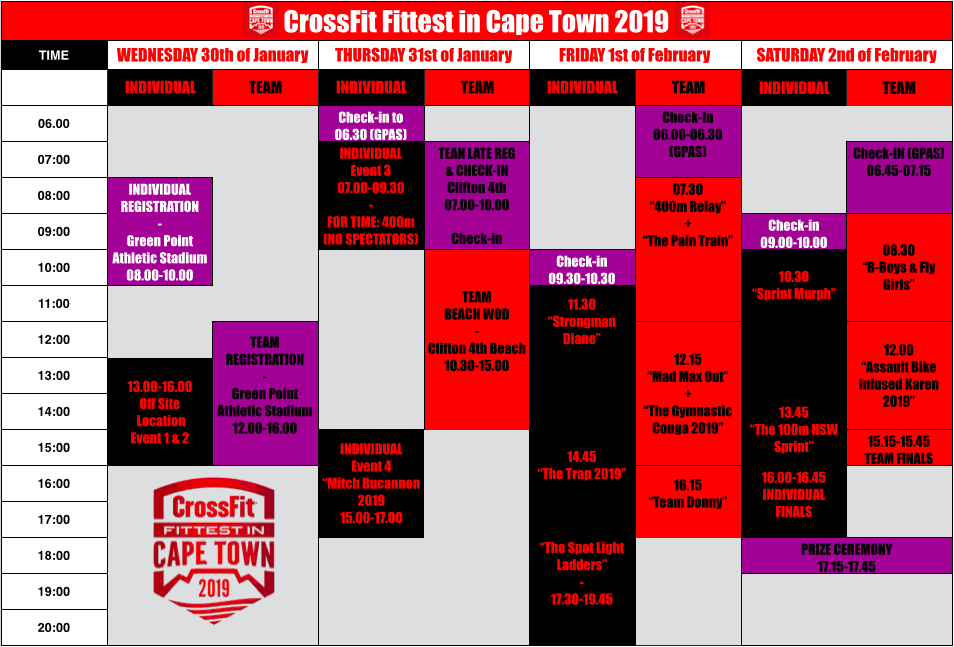 Fittest in Cape Town_schedule_2019