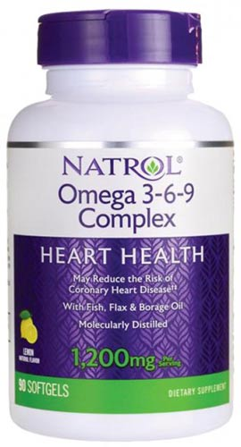Добавка natrol omega 3-6-9 в виде капсул 90 штук