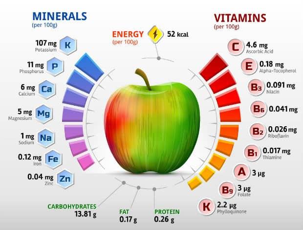 витаминный и минеральный состав яблок