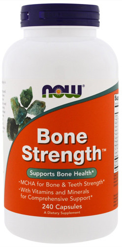 Упаковка NOW Bone Strength в 240 капсул