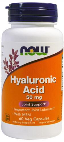 Добавка 60 капсул по 50 мг Now Гиалуроновая кислота