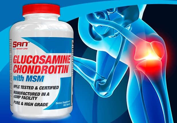 Фото добавки и сустава SAN Glucosamine Chondroitin MSM