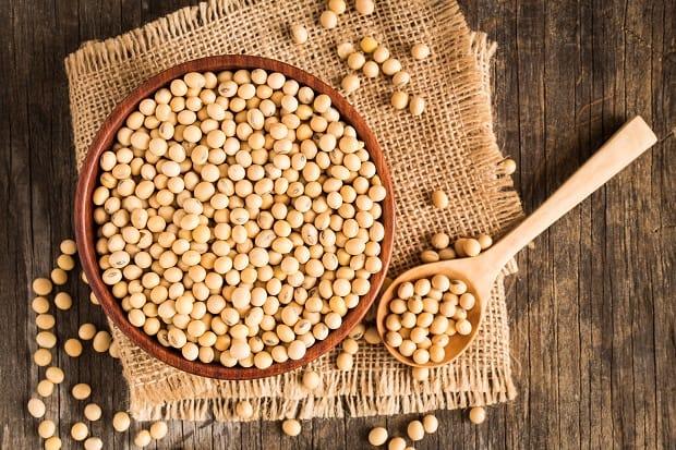 сушеные зерна сои в миске и в ложке