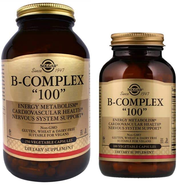 100 и 250 капсул добавки Solgar B-Complex 100