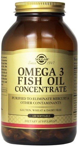 Упаковка solgar omega3 fish oil concentrate 120 капсул