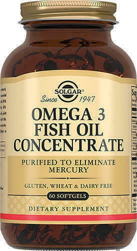 Упаковка solgar omega3 fish oil concentrate 60 капсул