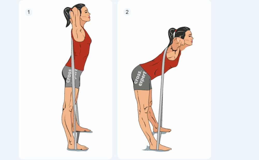 Упражнение с эластическим бинтом - наклоны