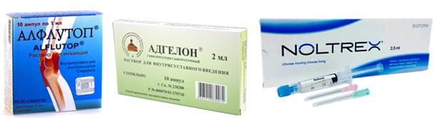 Препараты в суставы Алфлутоп, Адгелон, Нотпрекс