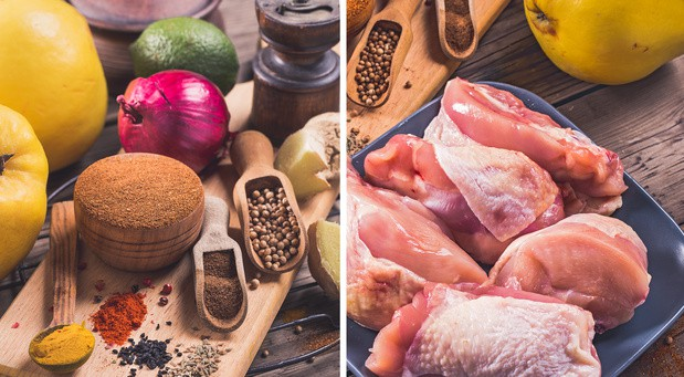 куриные бедра, луковица, лайм, айва и специи