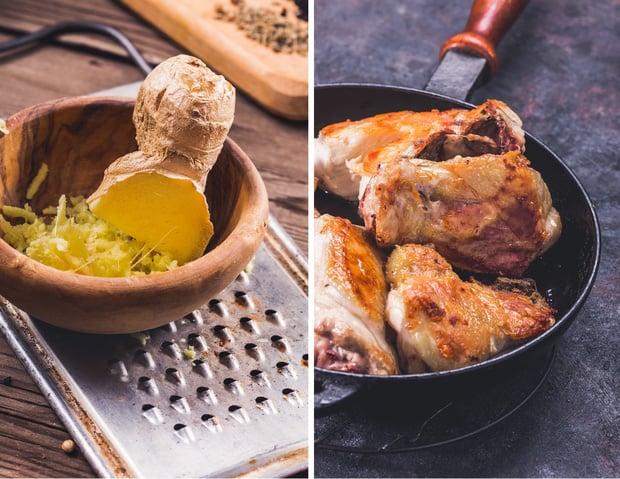 жареные куриные бедра и корень имбиря