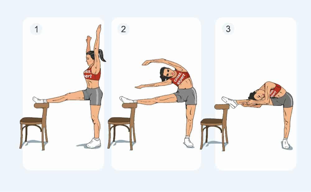 наклоны к стулу - упражнение