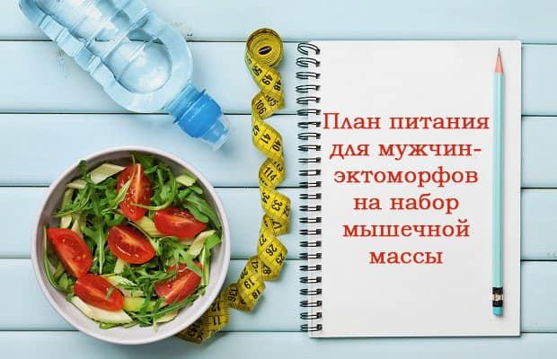 План питания для эктоморфов мужчин на набор