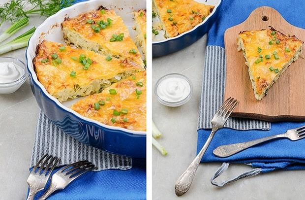 готовая запеканка из белокочанной капусты, нарезанная кусочками, в форме для запекания и на тарелке