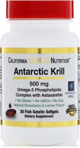 Добавка 30 капсул Antarctic Krill California Gold Nutrition
