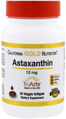 Упаковка 30 капсул California Gold Nutrition Astaxanthin
