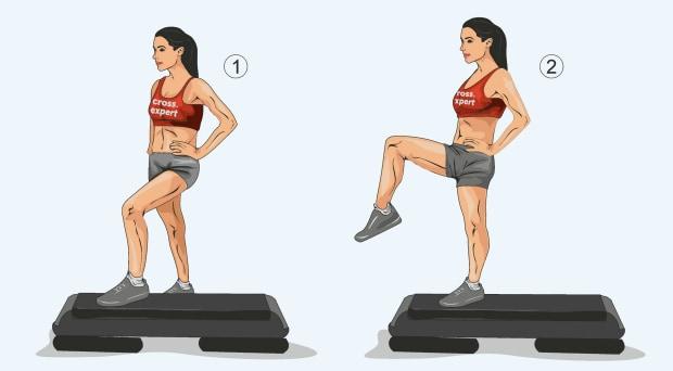 Зашагивание на степ с поднятием колена второй ноги