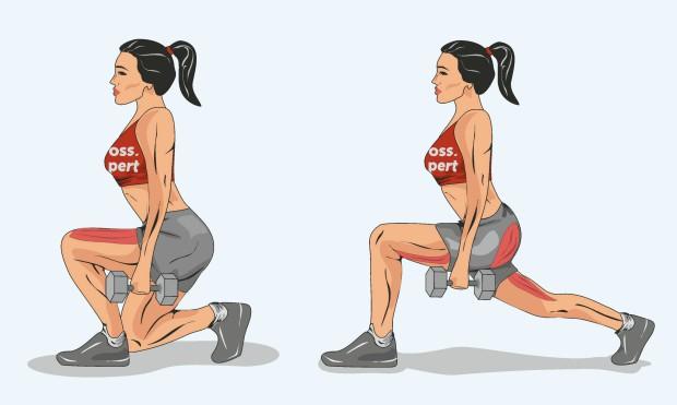 разница в работающих мышцах при выпадах